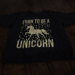 Shirt sleeve black unicorn t-shirt medium